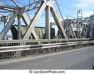 Railway Bridge - Metal railway bridge. On the bridge the...