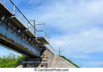 railway bridge on the background of the blue sky
