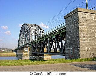 Pylons of highway bridge over river. Dutch highway bridge ...