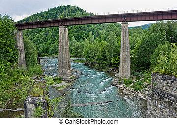 Railway bridge over the Prut river in the Ukrainian...