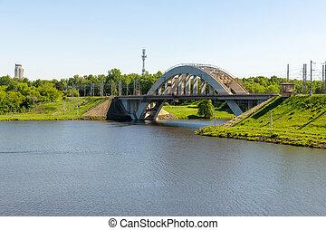 Railway bridge over the river in Khimki city, Russia - ...