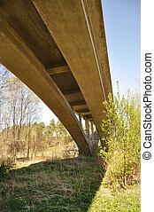 Railway bridge passing overhead.
