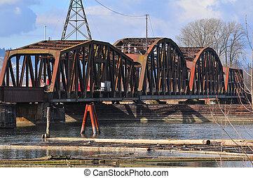 railway bridge - old metal railway bridge