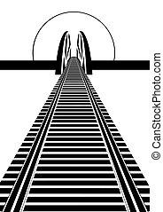 Railway line and railway bridge. Black and white illustration