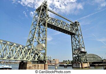 Railway bridge - Rotterdam railway bridge in Netherlands
