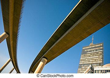 Railway bridge seen from below