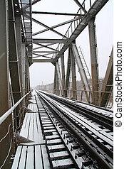 railway bridge through freeze river