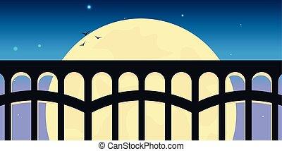 Railway bridge with beautiful outdoor landscape. Travel Concept.