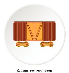 Railway cargo container icon, cartoon style