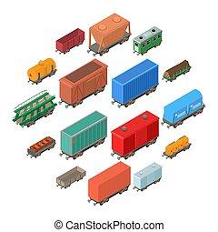 Railway carriage icons set, isometric style