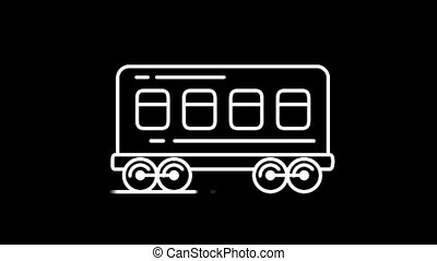 Railway carriage line icon on the Alpha Channel - Railway...
