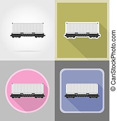 railway carriage train flat icons vector illustration