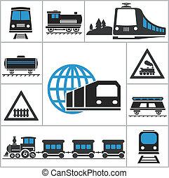 railway., conjunto, iconos