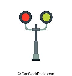 Railway crossing light icon in flat style isolated on white...