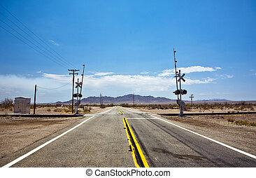 railway crossing on Route 95 near village Vidal