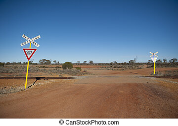 Railway crossing outback Australia