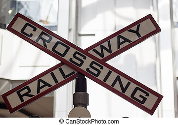railway crossing sign in shopping mall