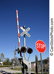 Railway crossing - The signs at a railway crossing against a...