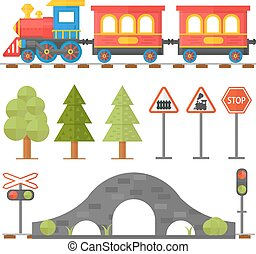 Railroad traffic way and cartoon toy train. Toy train, railroad train transportation. Railway design concept set with train station steward railroad passenger toy train flat icons illustration.