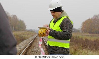 Railway employees on the railway