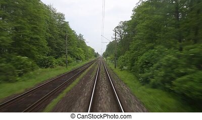 Railway fast motion - Train journey time lapse view