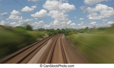 Railway fast motion - Train journey time lapse view with...