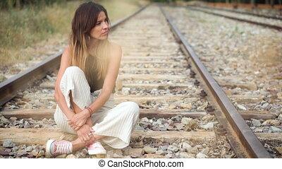 railway., femme, triste, séance, jeune