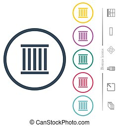 Railway flat color icons in round outlines