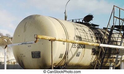 railway gas station - train fuel tanks at the gas station