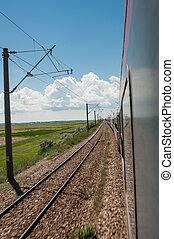 Railway goes to horizon in field