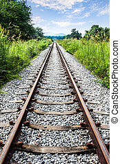 Railway, grass, mountain, sky