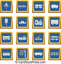 Railway icons set blue