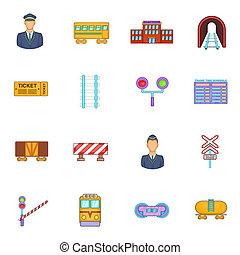 Railway icons set, cartoon style
