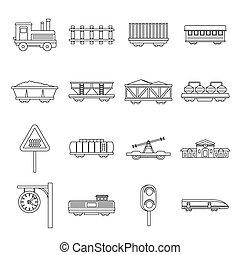 Railway train station icons set, outline style. Railway ...