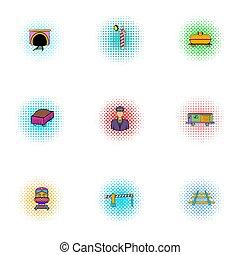 Railway icons set, pop-art style