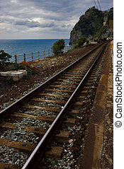 railway in corniglia - the stairs and the railway in village...