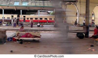 Railway in India. - Train travel among poor of India.