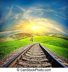 Railway in mountain fields