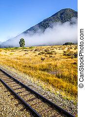 Railway in Mountain fields landscape, New Zealand