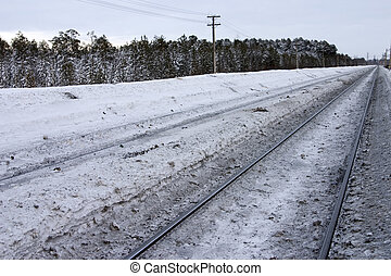 railway in surroundings the snow winter forest