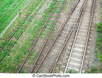 railway in the grass. view from above