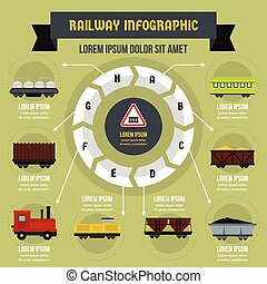 Railway infographic concept, flat style