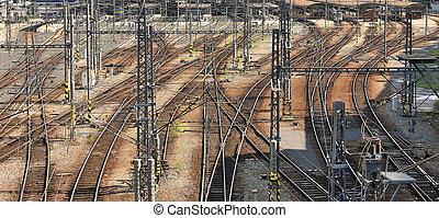 Railway intersections. Prague, Czech Republic. - Panorama of...