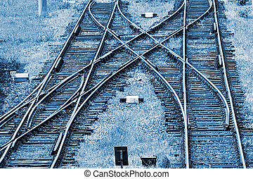 Railway junction in blue background 1