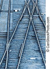Railway junction in blue background 2