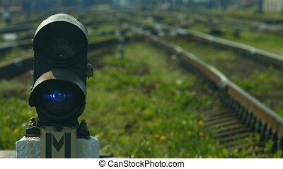 Railway junction. Rails. Railway arrows.