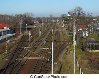 Railway junction taken from bridge above in Pardubice city,...