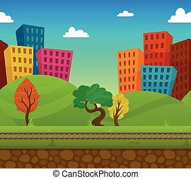 Railway 2d game landscape with city houses on background flat vector illustration