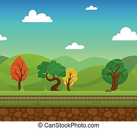 Railway game 2d landscape with trees and hills on background flat vector illustration