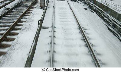 Train goes on rails.